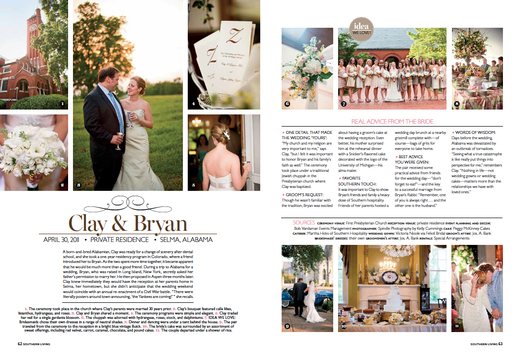 Southern Living Weddings 2012 Spread Spindle Photography