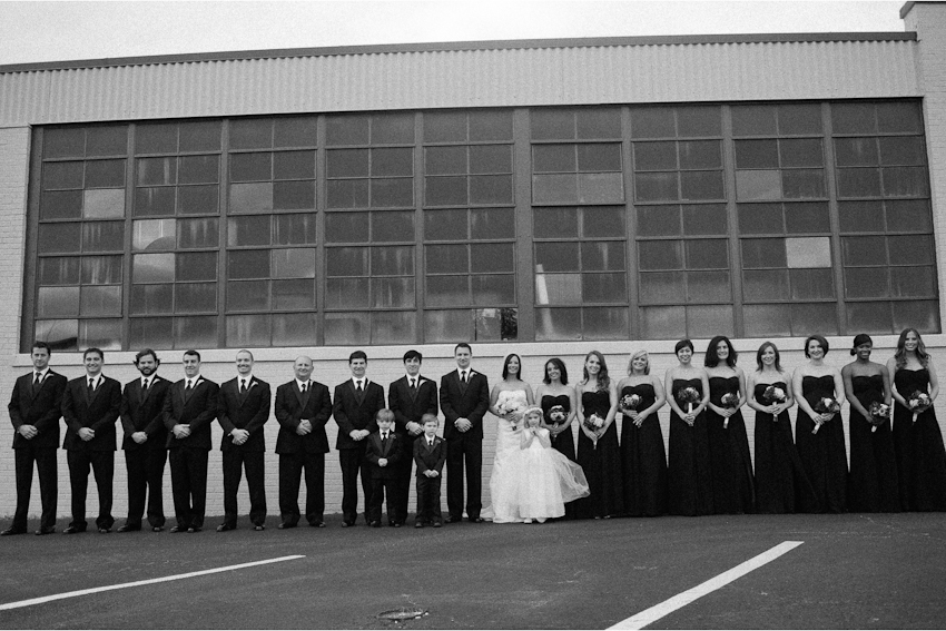 Bride and groom, wedding photography, black bridesmaids dresses, Bridal party, Birmingham Alabama