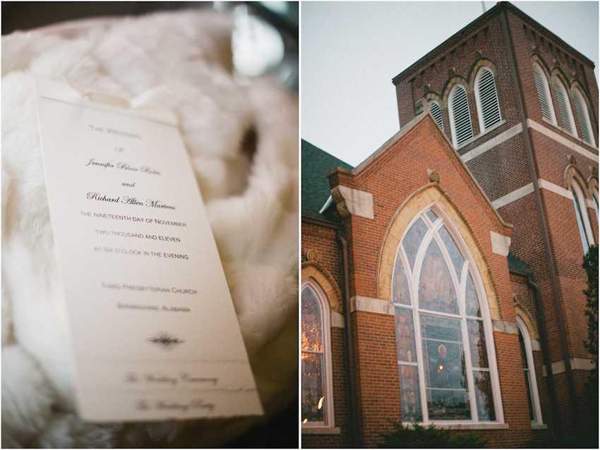 Wedding invatation, Third Presbyterian Church, Birmingham Alabama
