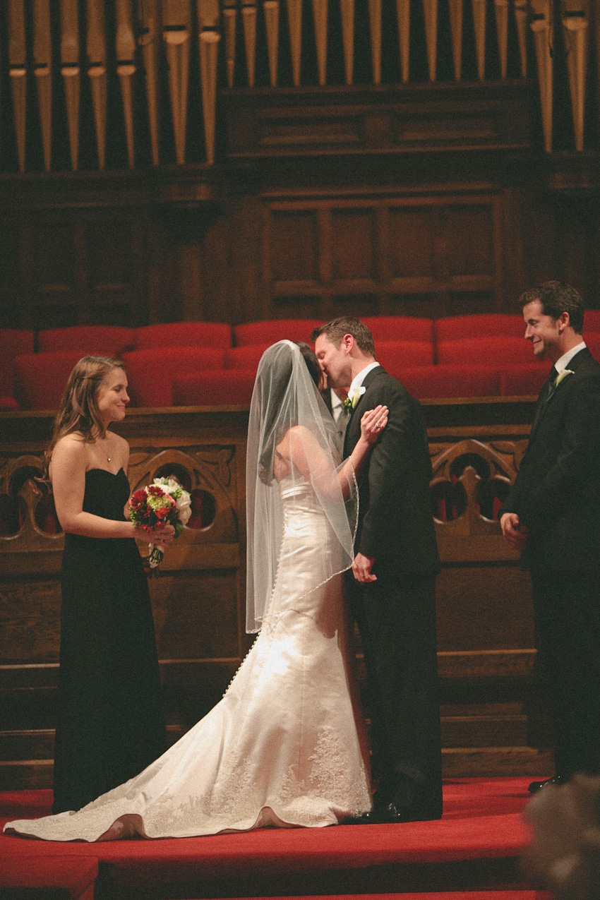 First kiss, Bride and groom, wedding ceremony, Third Presbyterian Church, Birmingham Alabama