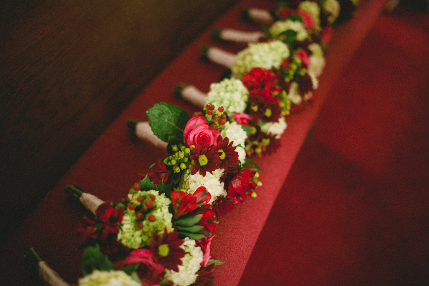 red pink and green bouquet